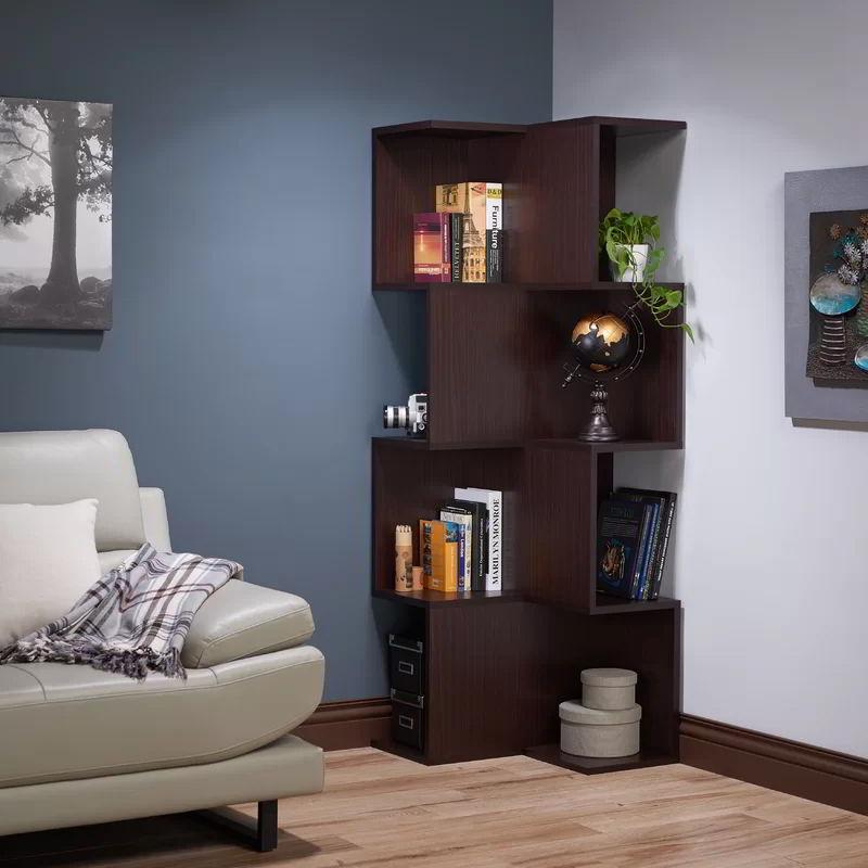kệ sách góc tường bằng gỗ