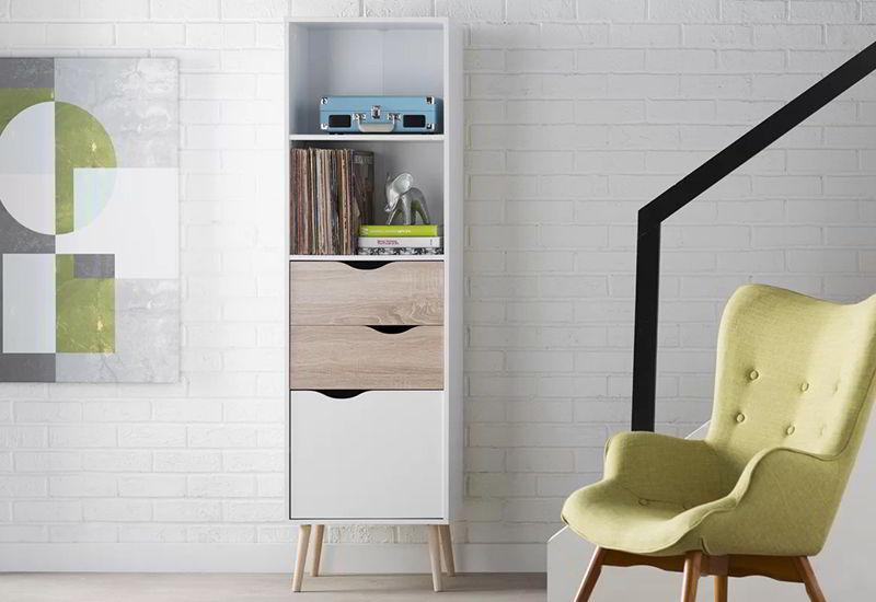 tủ kệ sách màu trắng đơn giản