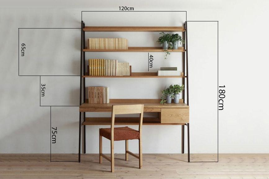 kích thước bàn kết hợp kệ sách