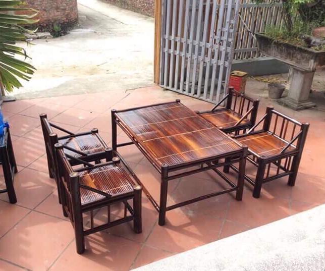 Bộ bàn ghế bằng gỗ tre ghép
