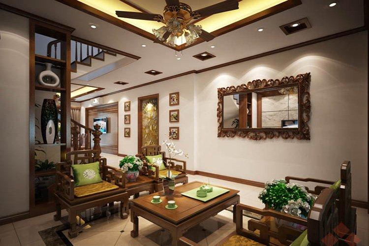 Phòng khách phong cách nội thất Á Đông
