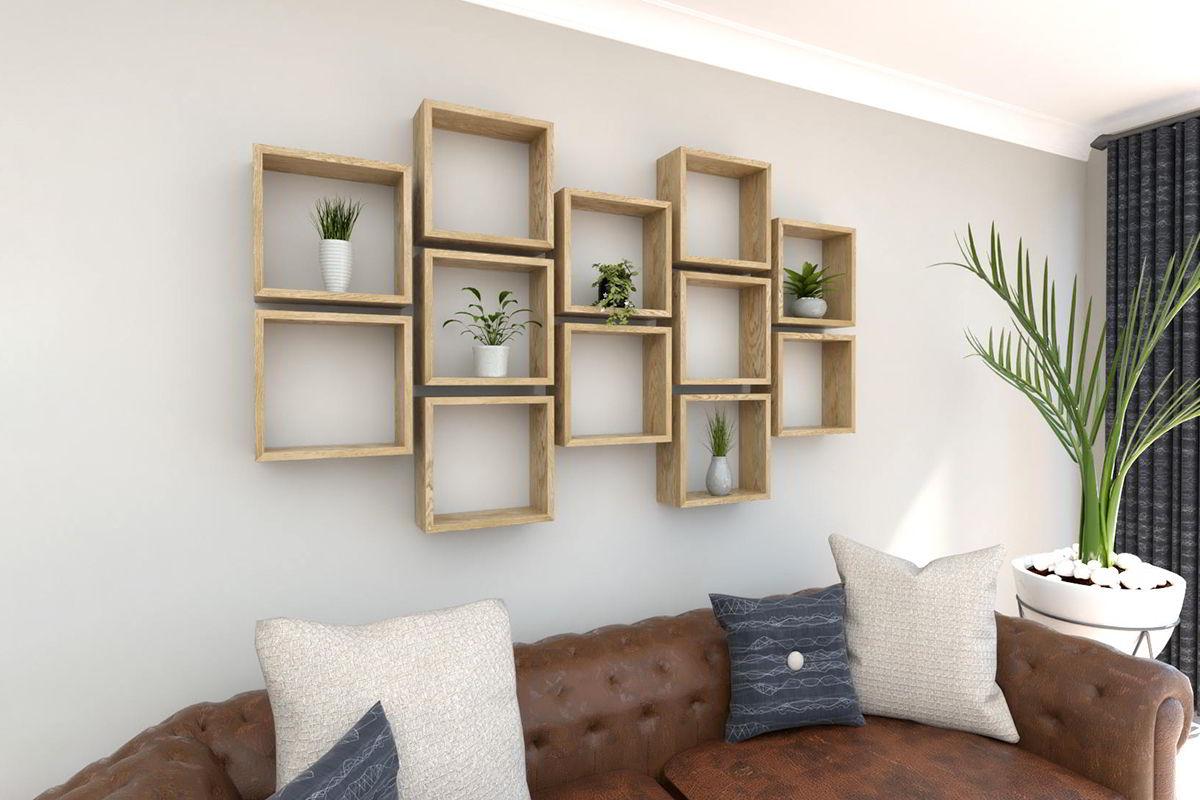 hệ kệ trang trí ô vuông cho phòng khách