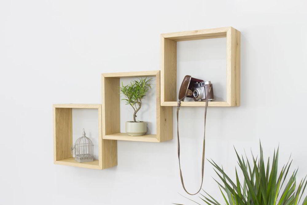 Kệ ô vuông treo tường bằng gỗ
