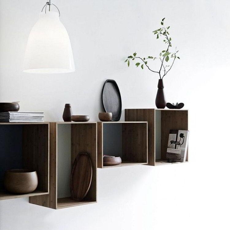 kệ gỗ hình vuông và hình chữ nhật