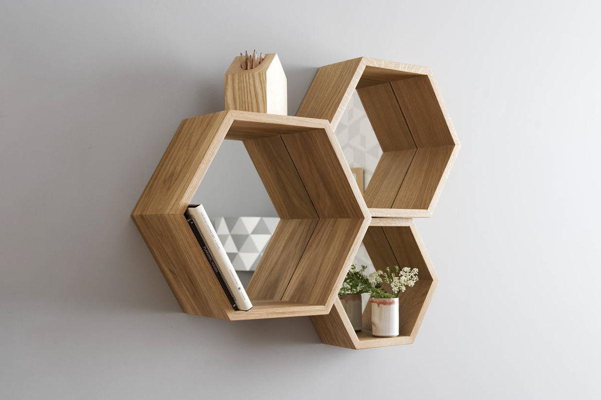 kệ gỗ hình lục giác