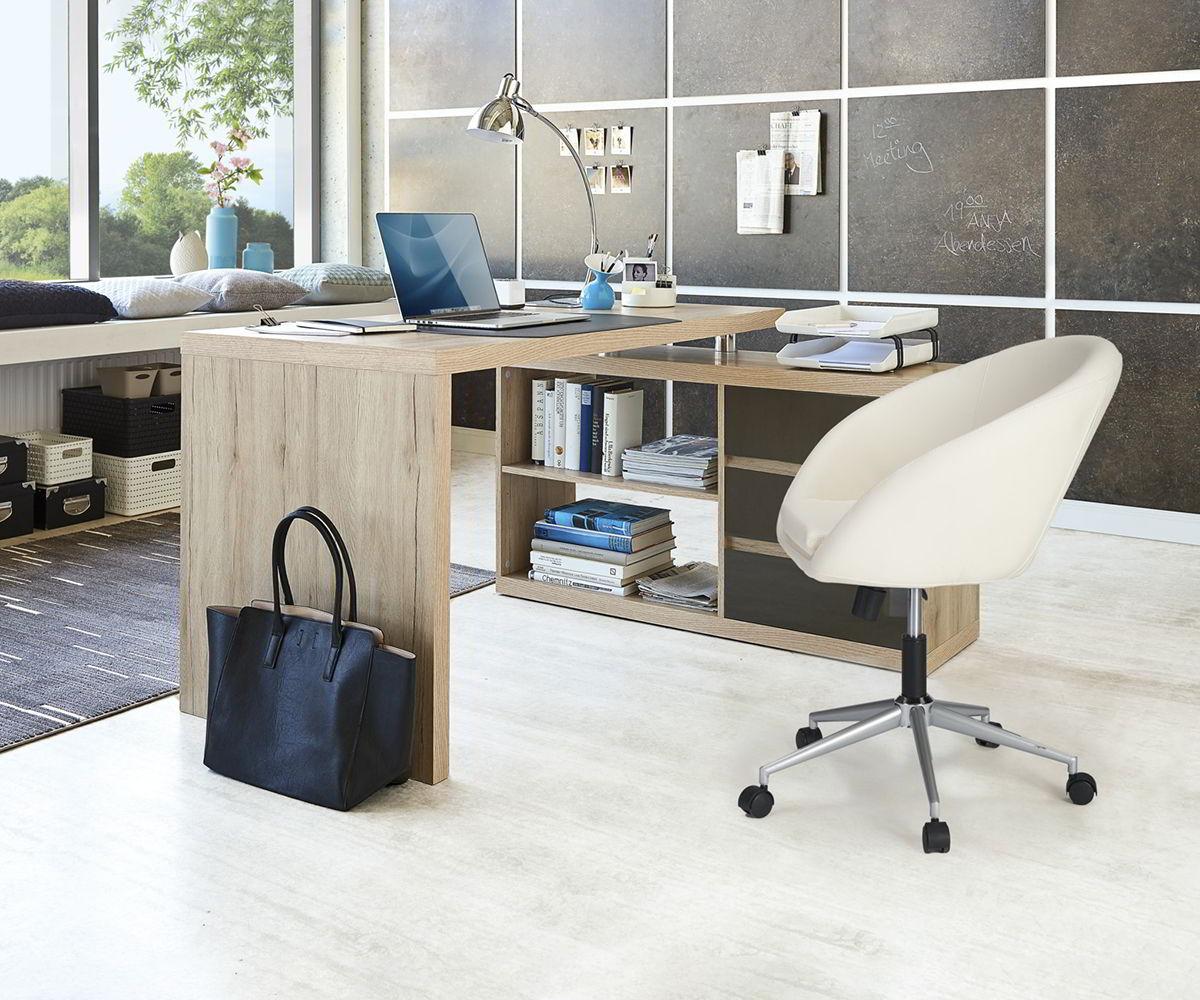 bàn làm việc gỗ tự nhiên chữ L 4