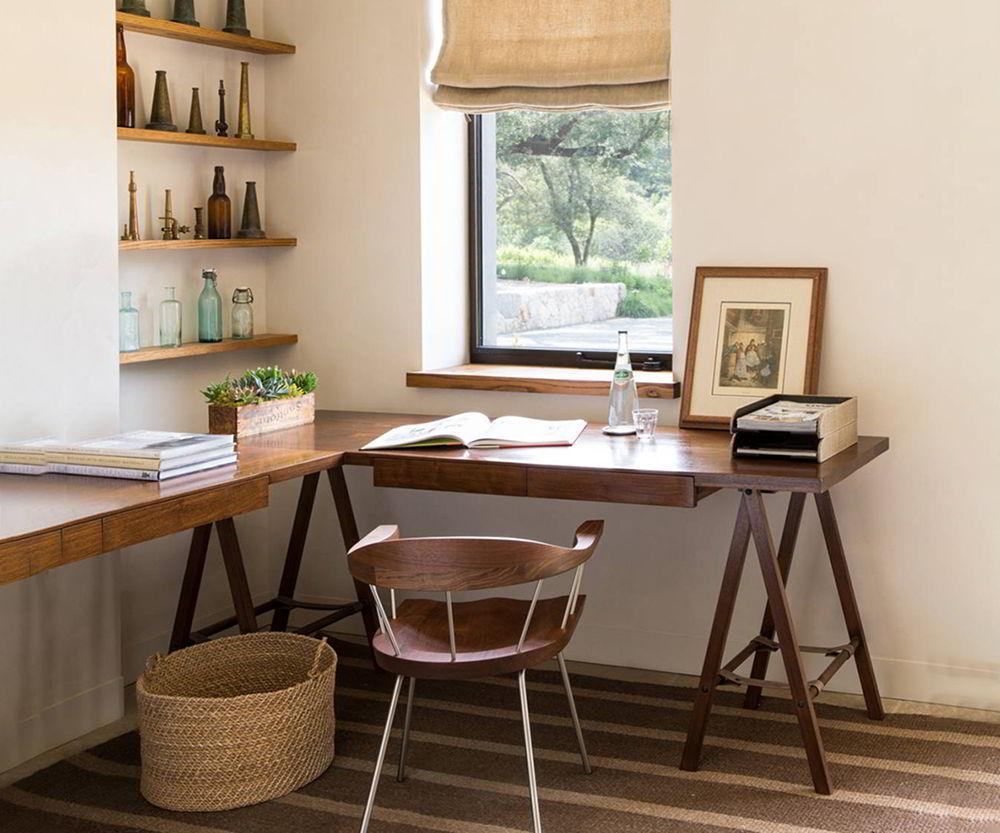 bàn làm việc gỗ tự nhiên chữ L
