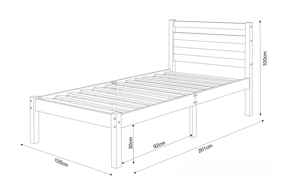 bản vẽ kích thước giường đơn