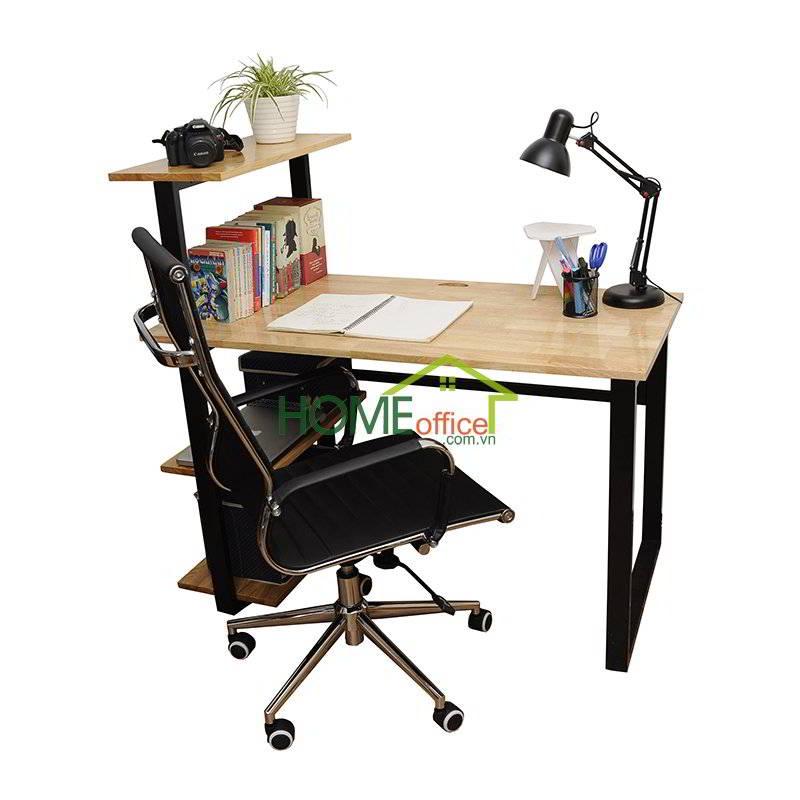 Bộ bàn ghế kệ sách bằng gỗ cao su ghép