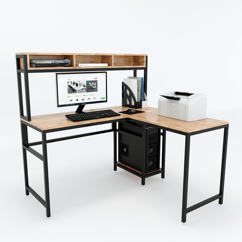 Bàn máy vi tính kết hợp bàn góc chữ L và kệ