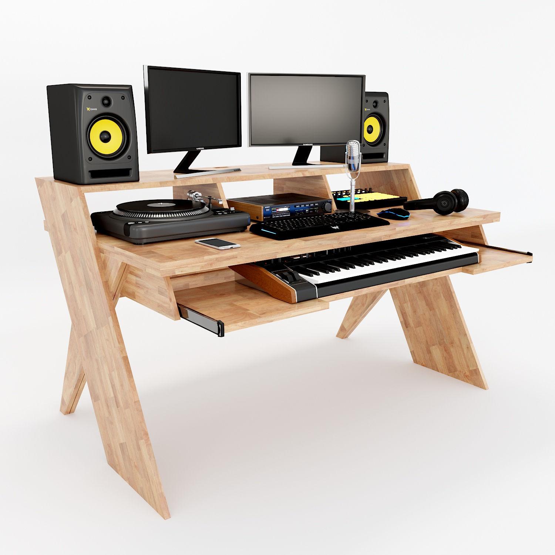 Bàn phòng thu StudioDesk chân gỗ chữ X kích thước lớn