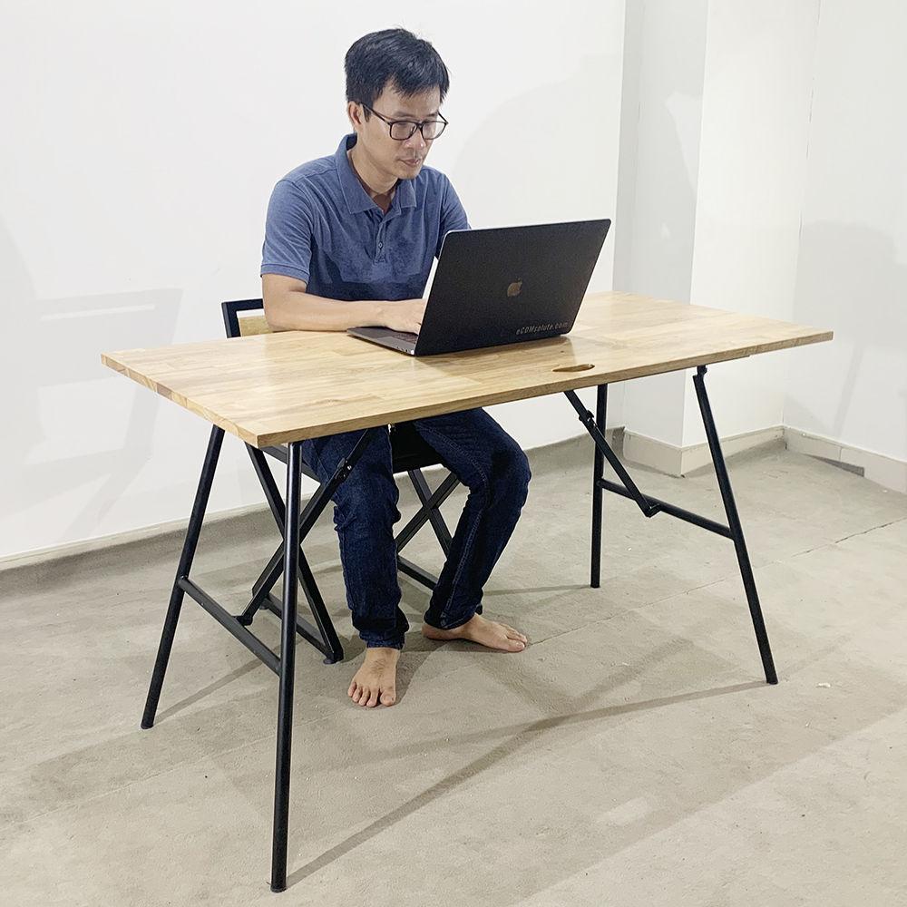 Bàn chân gấp Argon gỗ cao su giá rẻ 60x120cm