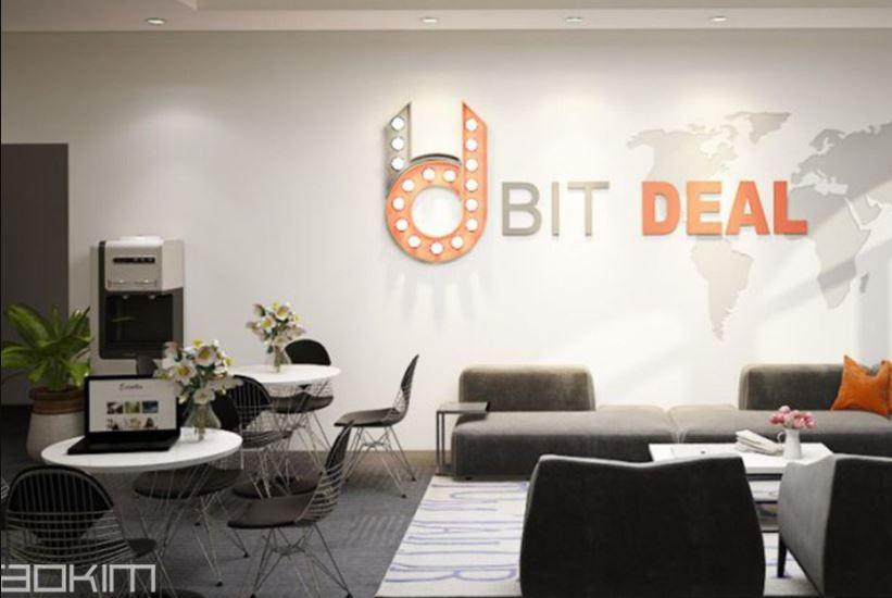 Bàn cafe trong khu tiếp khách của công ty BitDeal