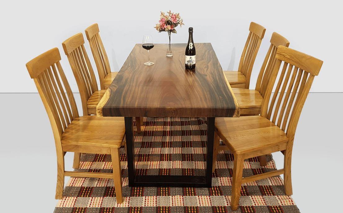 Bàn ăn gỗ Me tây nguyên tấm 6 chỗ ngồi kích thước 80x160cm