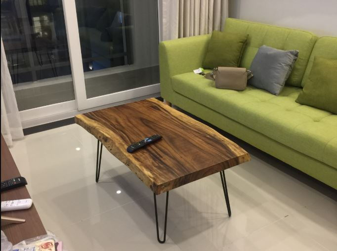 Bàn sofa chữ nhật nguyên cạnh chân Hairpin gỗ me tây