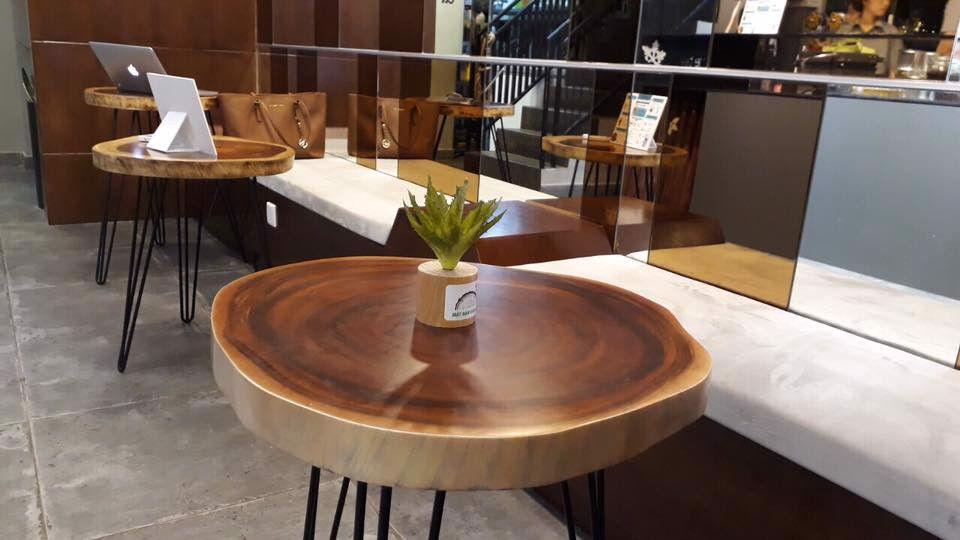Bàn Cafe gỗ Me Tây tròn theo thân cây