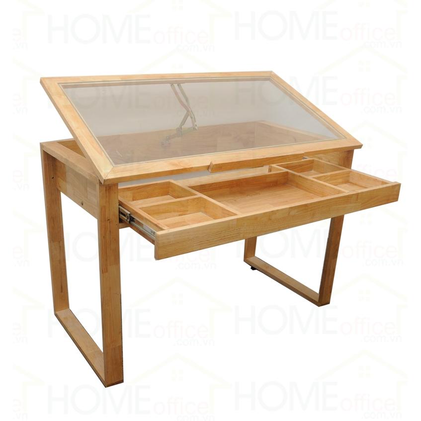 Bàn vẽ kỹ thuật gỗ cao su mặt kính có hộc kéo