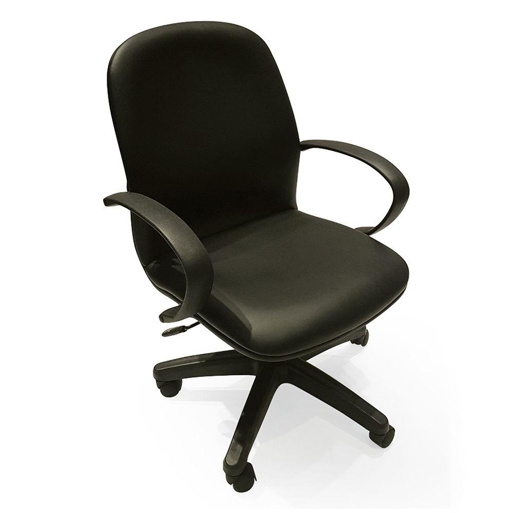 Ghế văn phòng bọc simili có tay nhựa bánh xe xoay chắc chắn