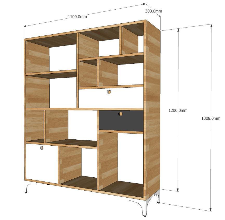 Cấu tạo kệ sách gỗ với các đợt kệ và khung gỗ cao su