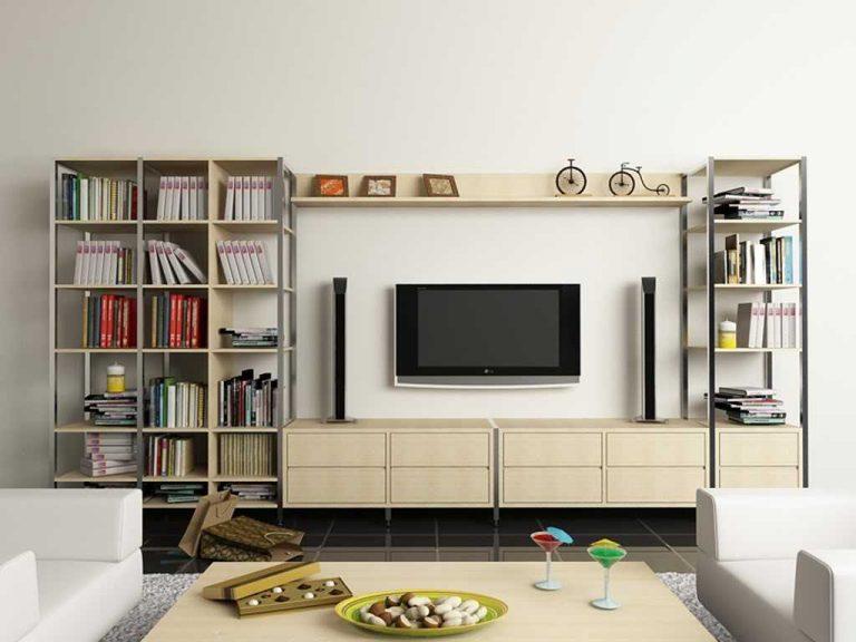 Kệ sách kết hợp kệ tivi cho phòng khách