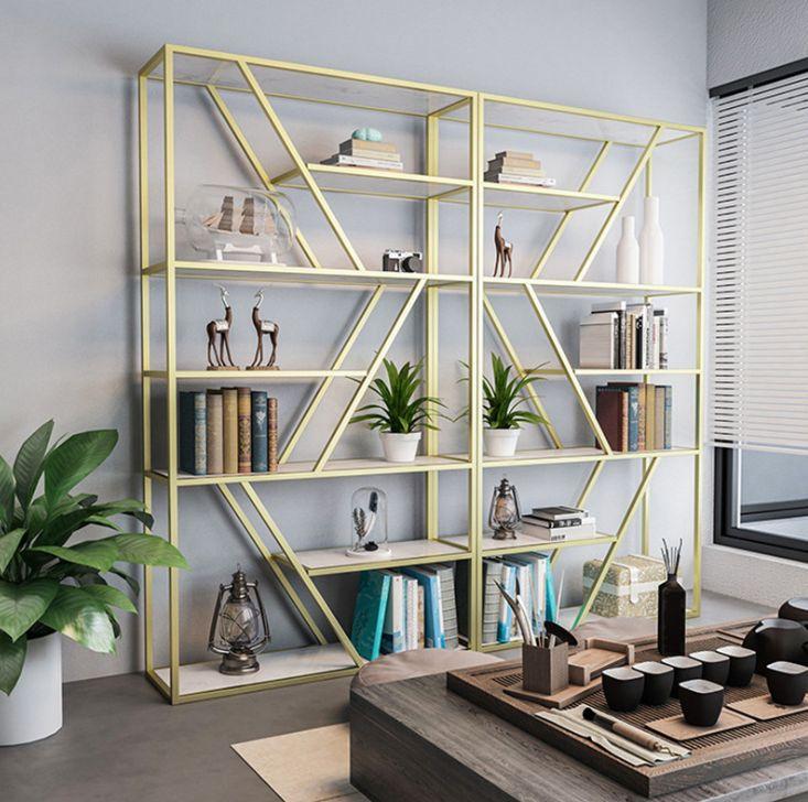 Kệ sách khung sắt vàng đồng trang trí phòng khách