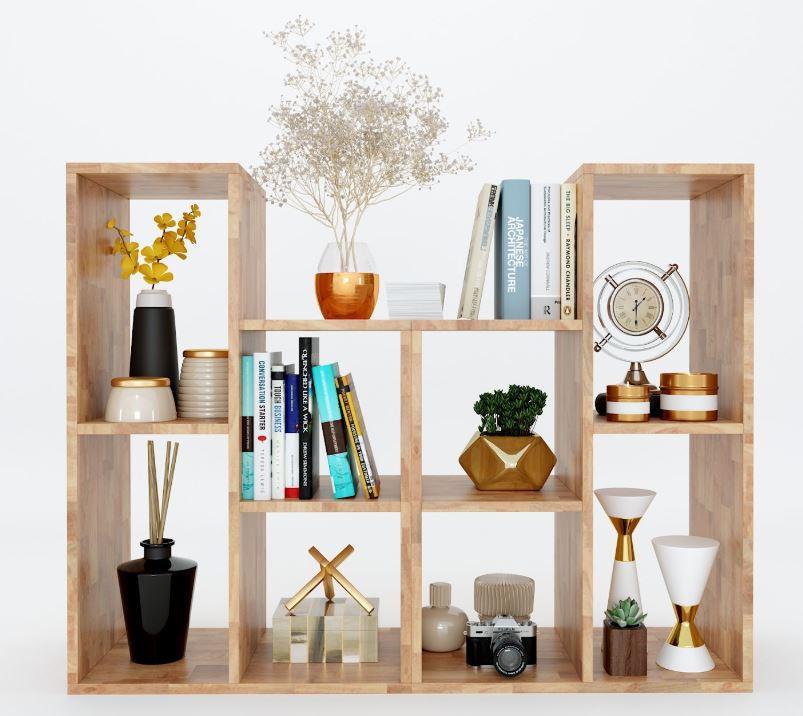 Kệ sách đơn giản gỗ cao su