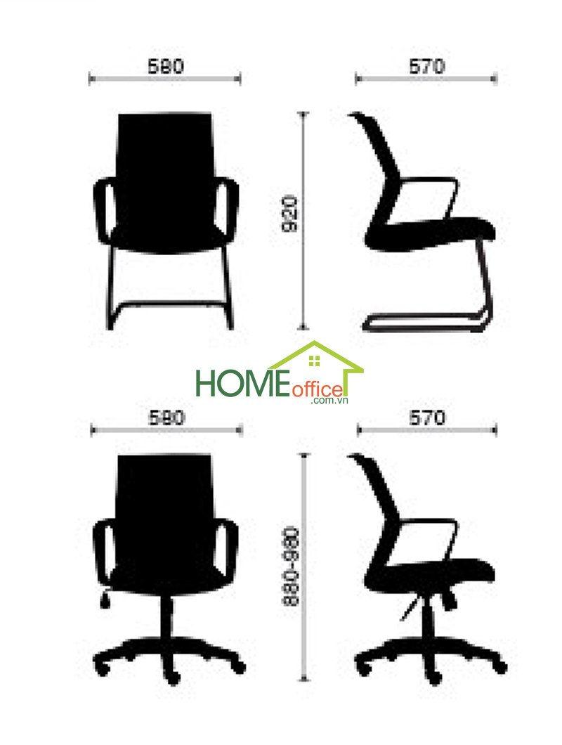 kích thước chuẩn ghế văn phòng