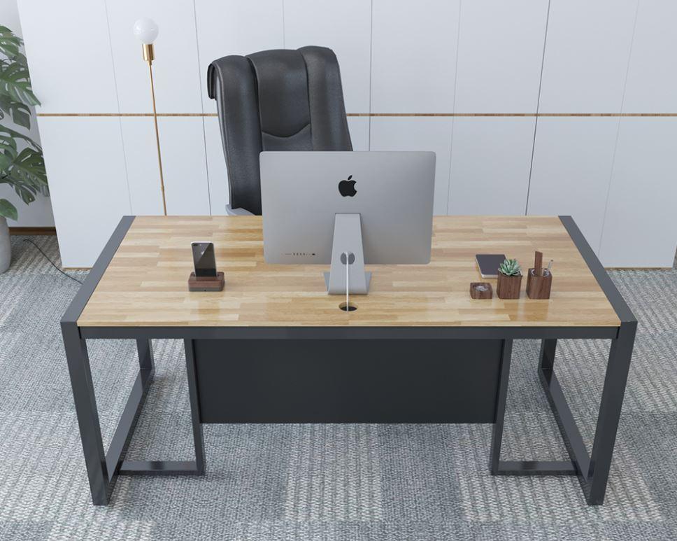 Homeoffice Iron Foot Rubber Wood Leader Desk