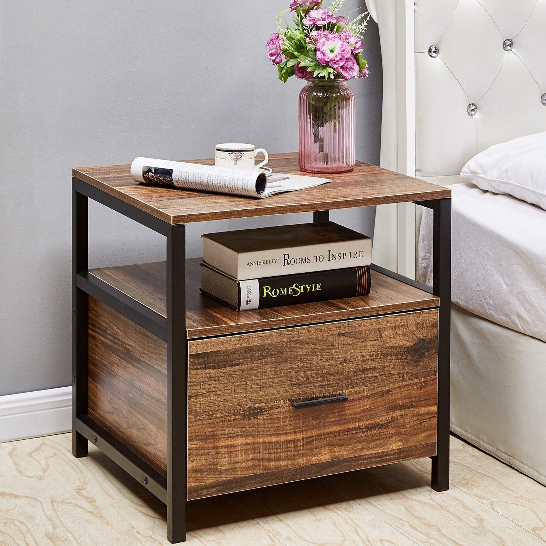 Tủ đầu giường gỗ khung sắt
