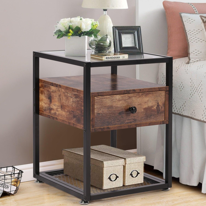 Tủ đầu giường gỗ kết hợp khung sắt