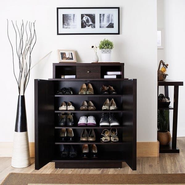 Tủ để giày gỗ màu đen