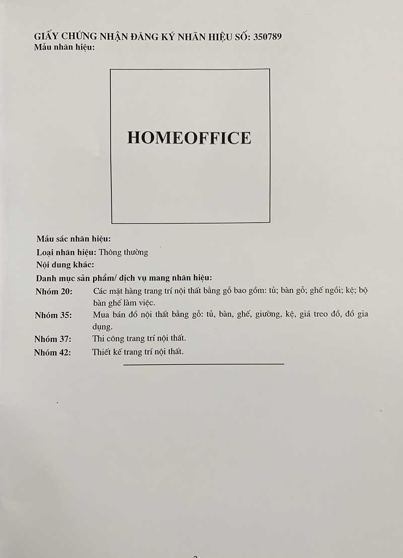 Mọi hành vi sử dụng tên HomeOffice trong các ngành liệt kê dưới đây đều cần được HomeOffice chấp thuận