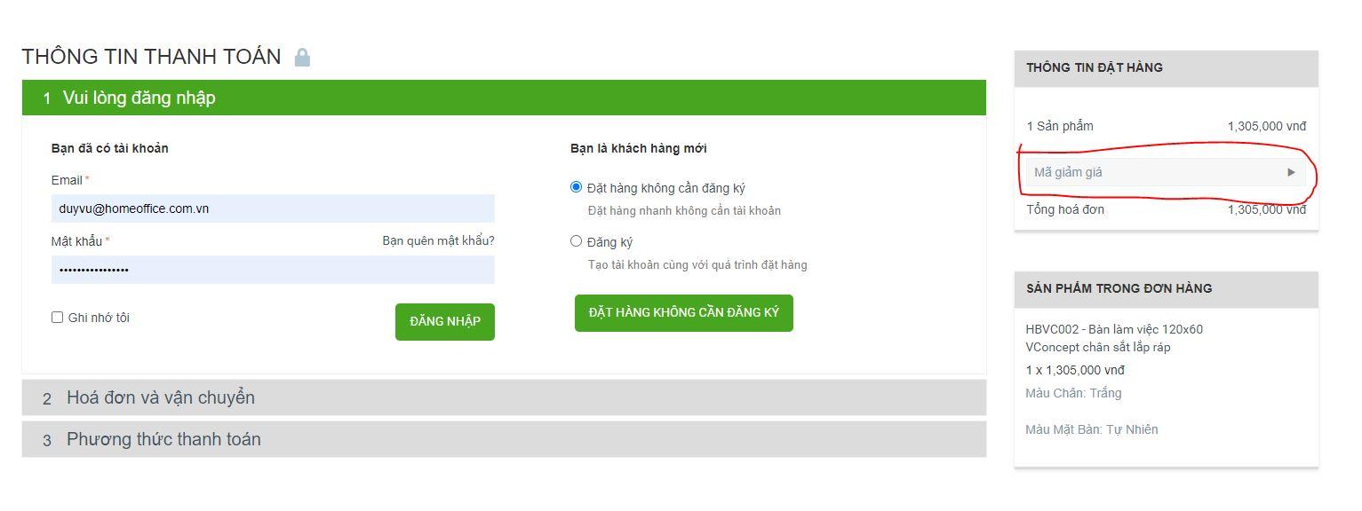 nhập mã giảm giá ở trang đặt hàng
