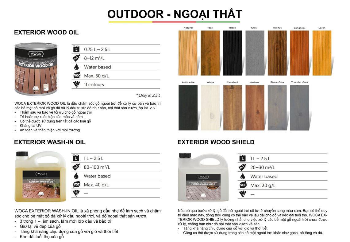 Dầu bảo dưỡng gỗ WOCA cho ngoại thất