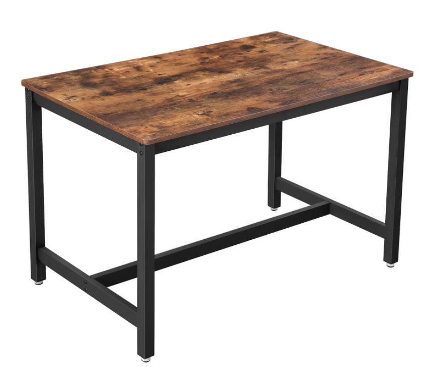 Bàn ăn chữ nhật mặt gỗ chân sắt lắp ráp