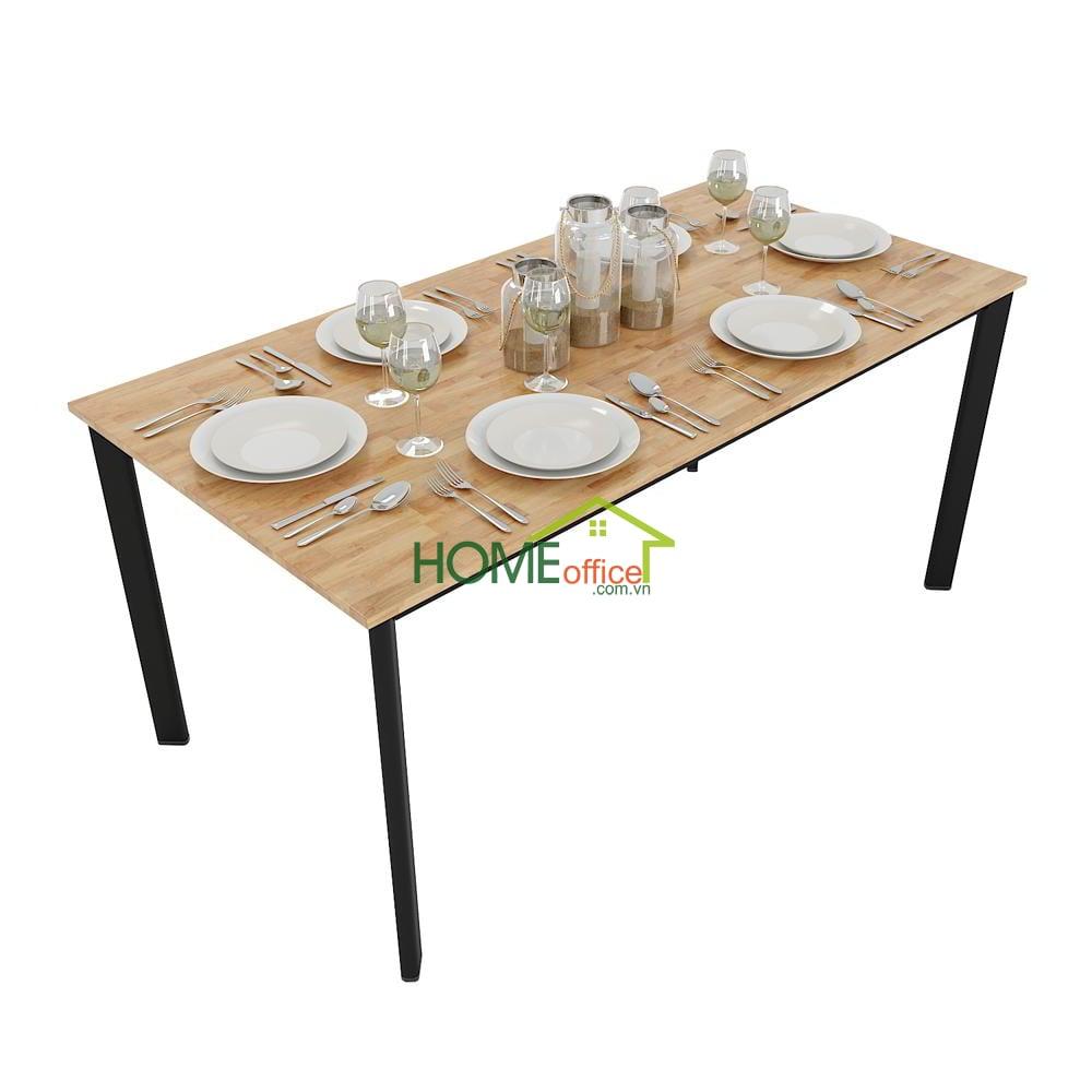 Bàn ăn chân sắt Oval kết hợp mặt bàn gỗ cao su kích thước 160x80cm