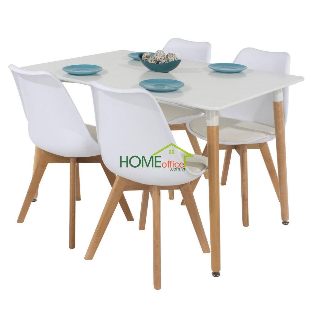 Bàn ăn chữ nhật đơn giản chân gỗ sồi kết hợp với khung sắt đỡ mặt bàn