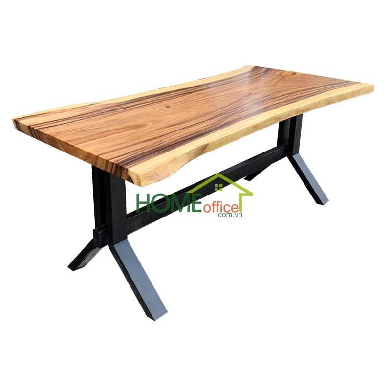 Bàn ăn chân sắt mặt bàn gỗ me tây nguyên khối
