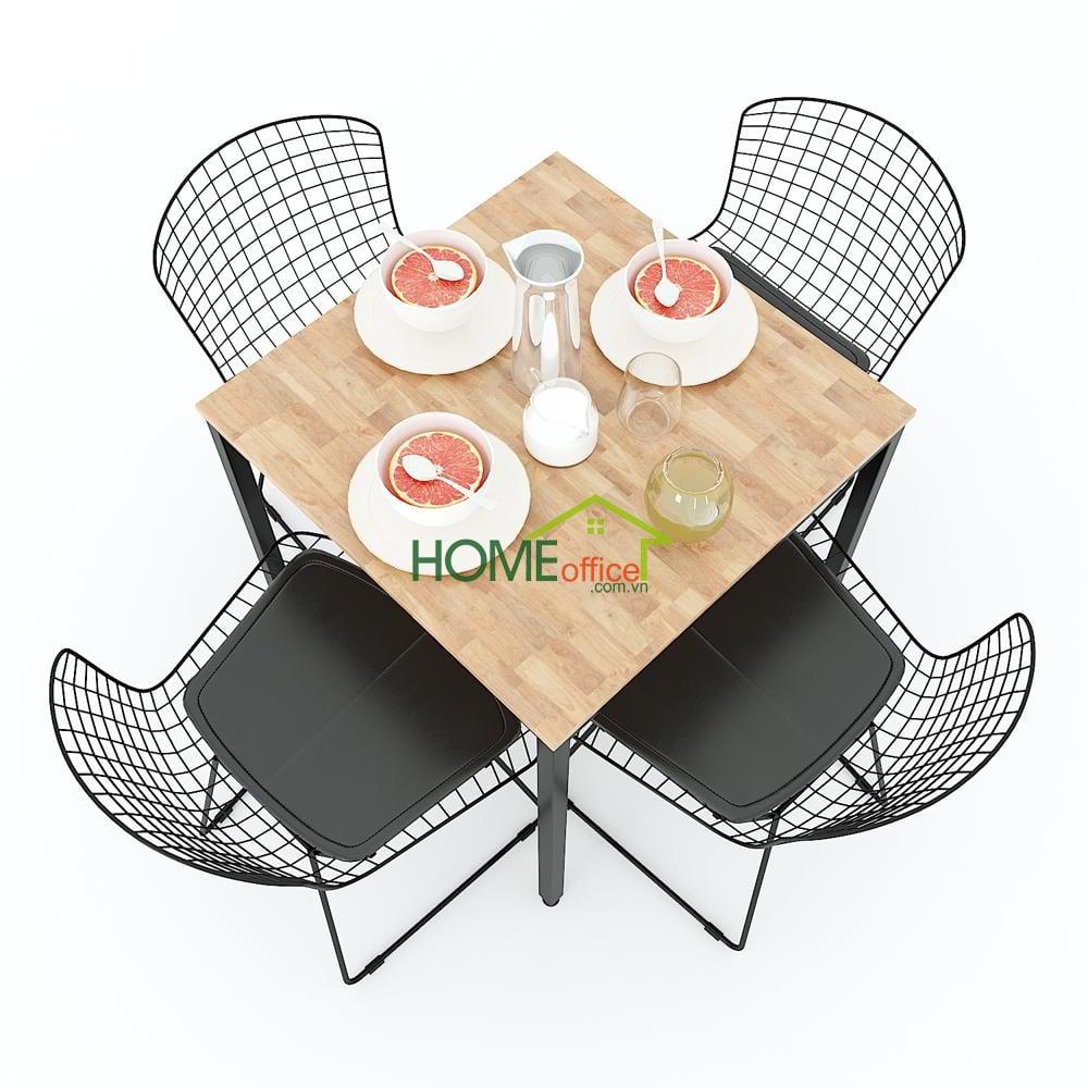 Mẫu bàn ăn vuông 70cm ngồi được 4 người với chân sắt đơn giản