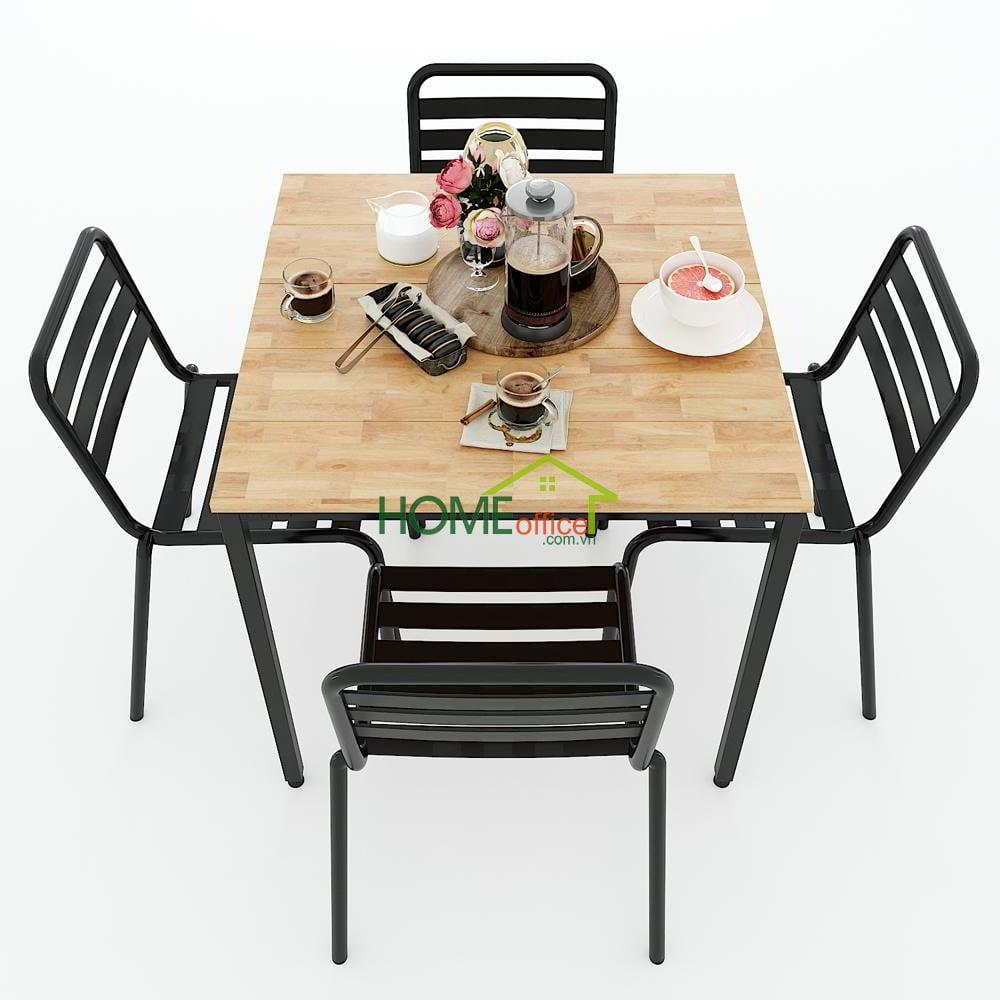 Mẫu bàn ăn vuông 80cm rộng rãi hơn cho 4 ghế ngồi