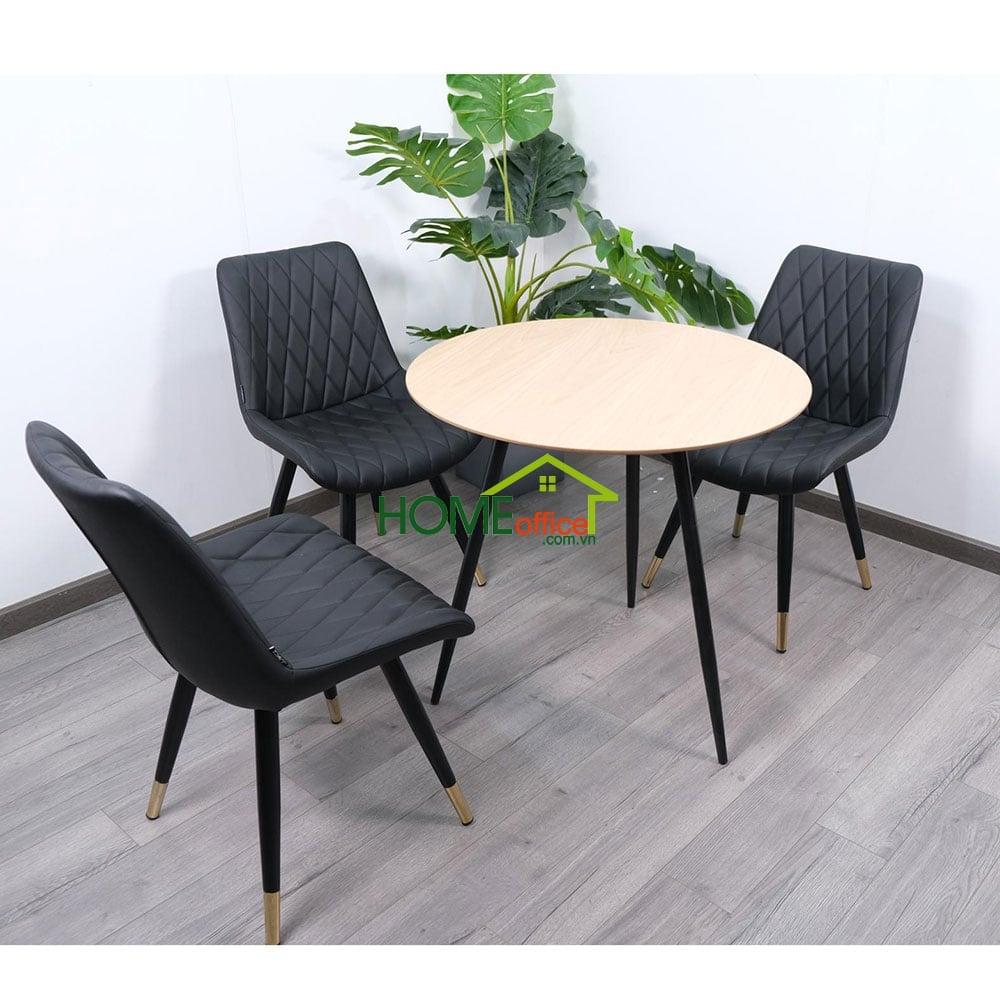 Bàn ăn tròn 80cm 3 chân sắt thoáng cho 3 hoặc 4 người ngồi