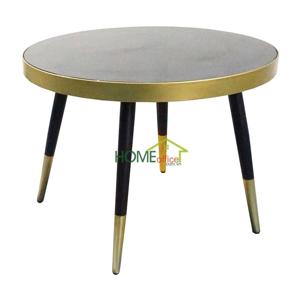 Bàn sofa khung sắt vàng đồng chân Côn mặt tròn