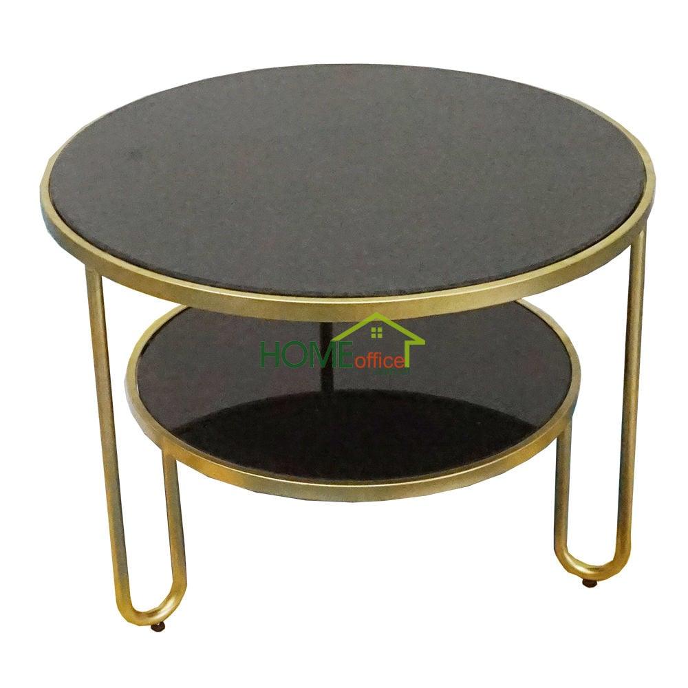 Bàn sofa tròn 2 tầng mặt đá kết hợp khung sắt
