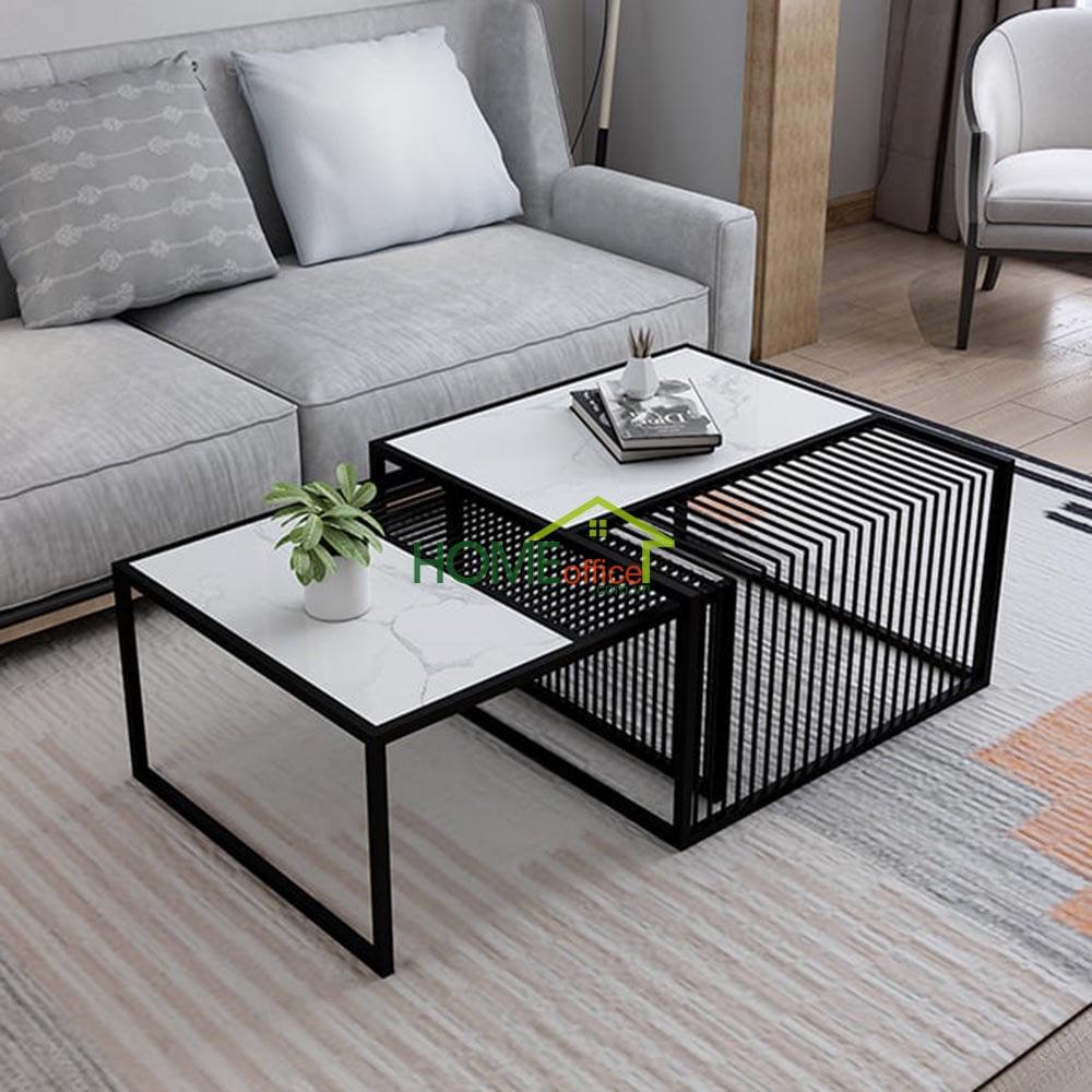 Bộ bàn sofa đôi mặt đá khung sắt sơn tĩnh điện
