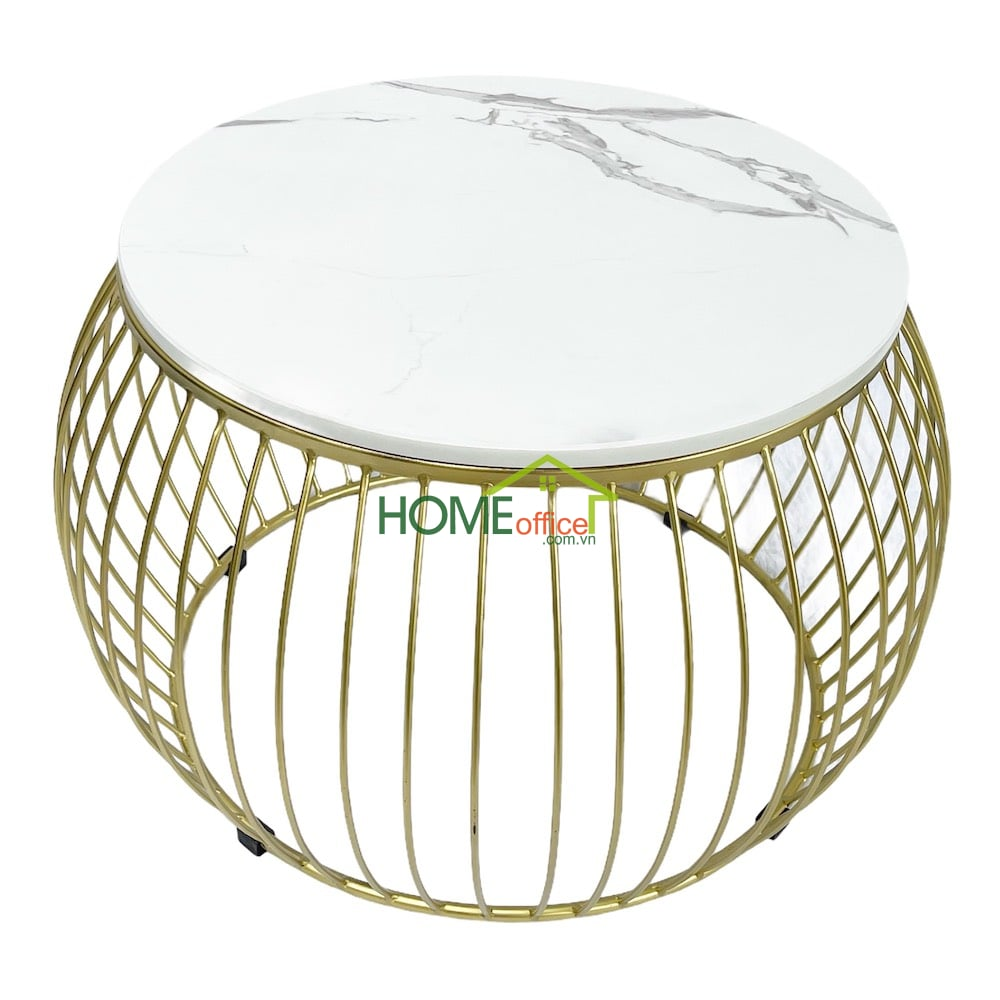 Bàn sofa khung sắt sơn vàng đồng mặt đá tròn