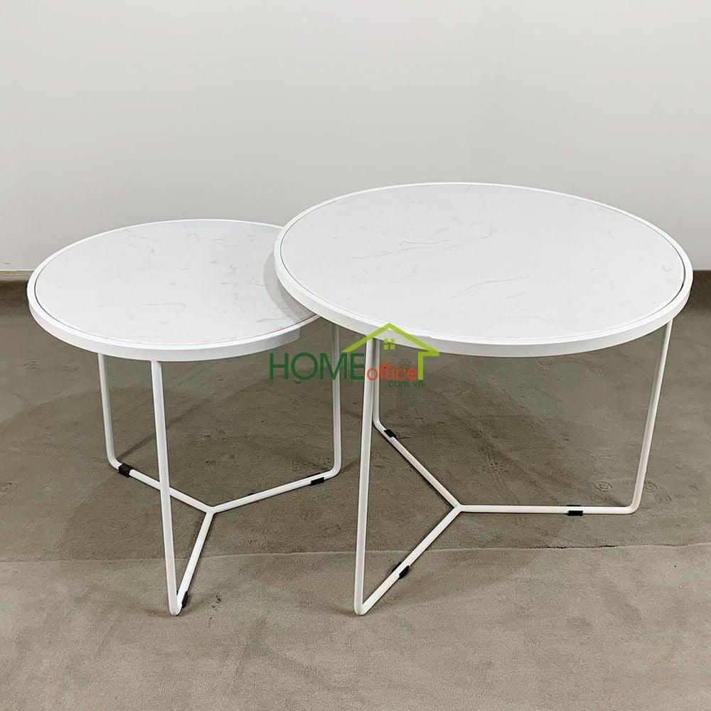 Bộ bàn sofa đôi mặt đá trắng chân sắt