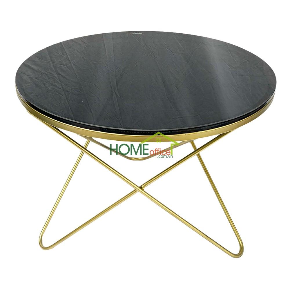 Bàn sofa vàng đồng mặt kính đen chân sắt v