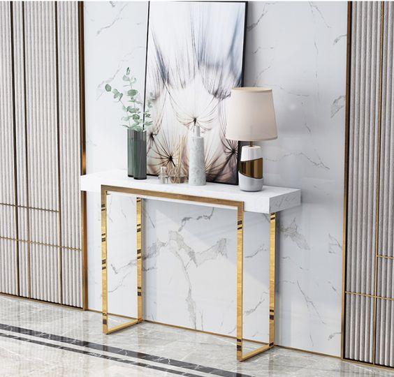 Bàn console khung inox kết hợp với gỗ sơn trắng