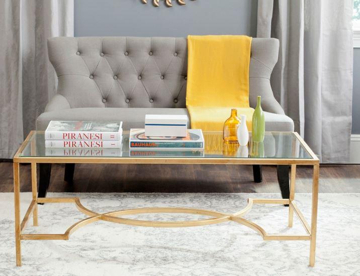 Bàn sofa inox xi mạ kết hợp với kính cường lực