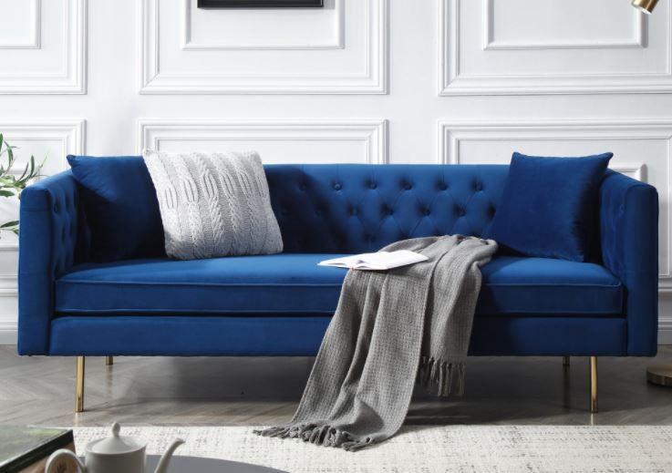 Sofa băng LoveSeat với khung chân Inox xi mạ vàng đồng